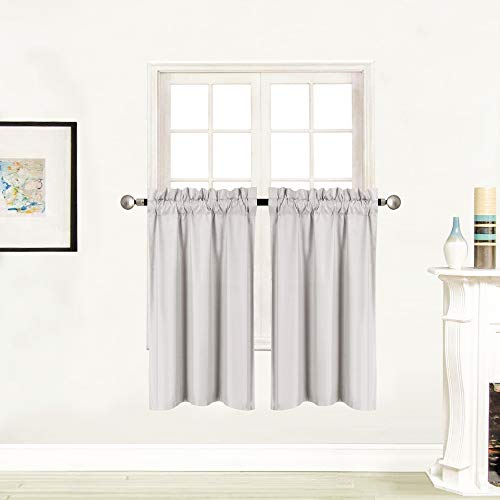Better Home Style 100% Blackout 2 Tiers Window Curtain Insulated Drapes Short Panels for Kitchen Bathroom Basement RV Camper or ANY Small Window M3036 (Light Grey / Silver, 2 Panels 28