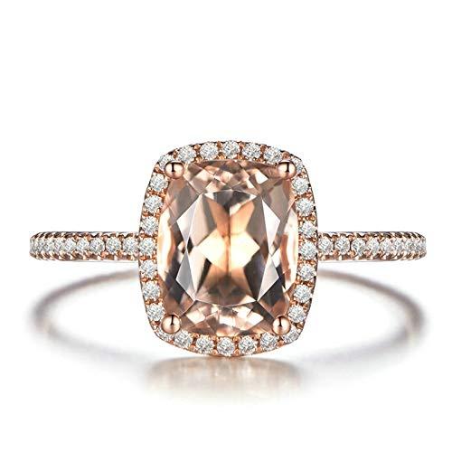 Bishilin Damen Ringe Rotgold 18 Karat Halo mit 2.05ct Rechteck Morganit Verlobungsringe Diamant 0.29ct Trauringe Große 52 (16.6)