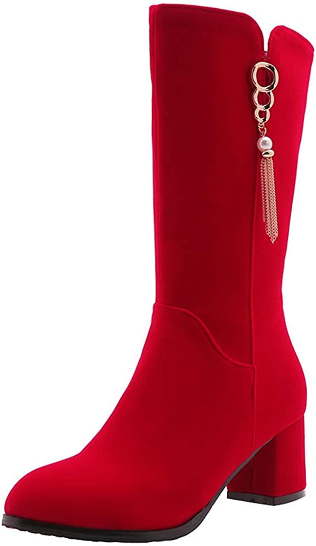 Gedigits Women's Pendant Round Toe Medium Block Heels Mid Calf Boots with Zipper Red 7.5 M US