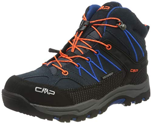CMP – F.lli Campagnolo Kids Rigel Mid Trekking Shoe WP, Botas de Senderismo Unisex niños, Azul Cosmo Flash Orange 19ne, 36 EU