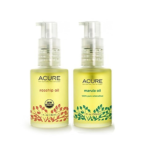 Acure Organics The Essentials Rosehip Oil and Pure Wildcrafted Marula Oil with Powerful Antioxidants and Vitamin E, Natural Healing For Dry Or Damaged Skin, 1 Ounce Each
