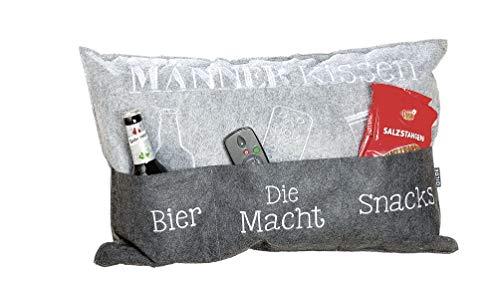 GILDE Kissen Männer Aufbewahrungstaschen Bier Die Macht Snacks grau 40x60 cm