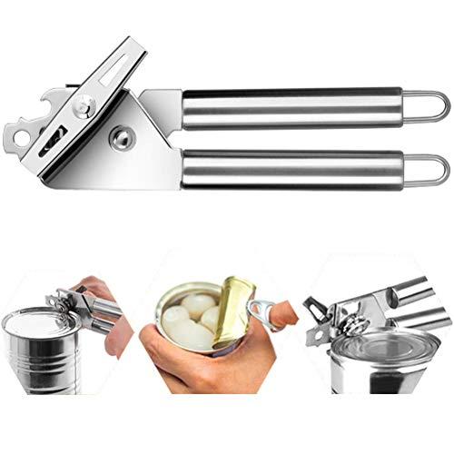 Jemous - Juego de abrelatas manuales para latas (abrelatas de acero inoxidable, mango antideslizante, abrelatas de latas de cocina, tapas de lata y tapas de botella de mano