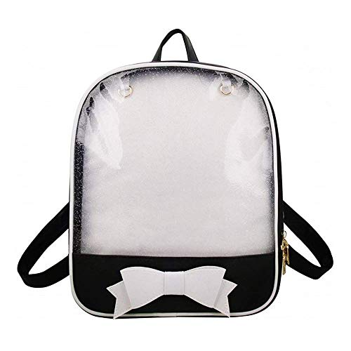 KEEPOP Ita Bag Rucksack Mädchen Süß Candy Leder Tasche Geldbörse Schultasche Sommer Strandtasche Geldbörse mit Bowknot Transparente Fenster für DIY Dekore Schwarz/Weiß