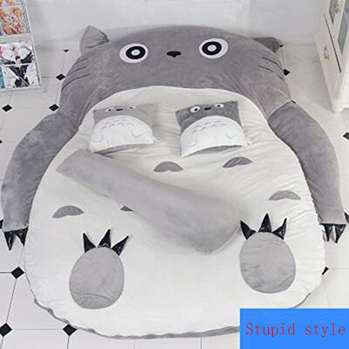 Tyfiner My Neighbor Totoro Sacco a Pelo Materasso Morbido Addensare, Materasso Pigro di Cartone Cartone Animato Carino Sacco a Pelo Chinchilla Divano Letto,002,150 * 200 cm