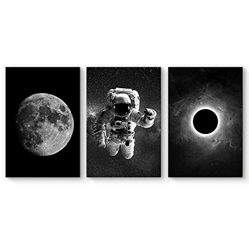 SIGNFORD 3 Panel Canvas Wall Art Astronaut Grand Eclipse Moon Kids Canvas Painting Wall Decor for Living Room Framed Home Decorations - 16