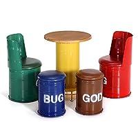テーブルセット 4つの椅子とテーブルを交渉することはバー・カフェクリエイティブテーブルと椅子レジャーデザートショップラウンドとスクエアテーブルを設定します。 受信 (Color : Yellow(round), Size : 60cm x 75cm)