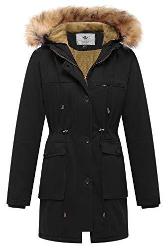 WenVen Women's Winter Warm Military Thicken Fleece Military Coat Jacket(Black,M)