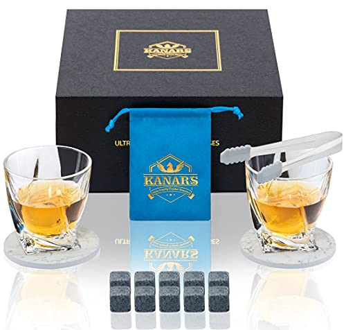 KANARS Set Bicchieri e Pietre di Whisky, 10 Granito Pietre di Whisky con 2X 300 ml Bicchieri da...