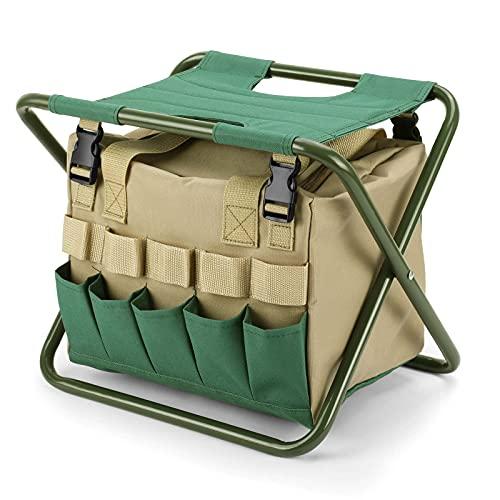 Raiysin - Taburete plegable con espacio de almacenamiento, portátil para jardinería, taburete de metal para jardín, camping, picnic, senderismo, barbacoa, viajes, 38 x 35 x 28 cm, verde + caqui