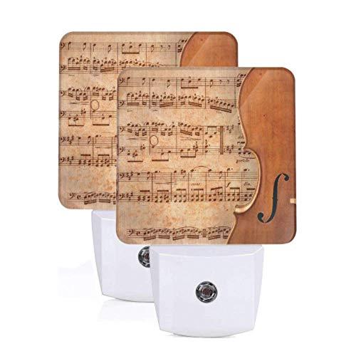 2 Pack lampe de nuit portable violoncelle sur feuille de musique ancienne rouillé vieux jaune Pa Auto capteur du crépuscule à l'aube lampe de chevet pour couloir chambre escaliers couloir co