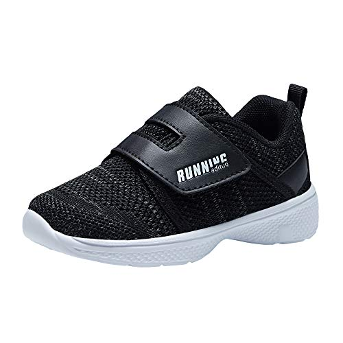 adituo Toddler/Little Kid Boys Girls Lightweight Breathable Strap Athletic Sneakers Running Walking Sports Shoes Black Size 9