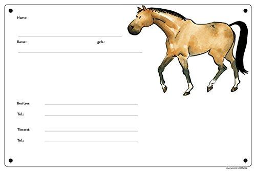 Boxenschild/Stalltafel Braunpferd (Vollblut/Warmblut/Pony)