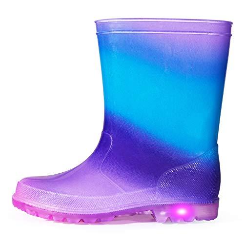K KomForme, Kinder-Regenstiefel, blinkende Gummistiefel, Gummistiefel, für Mädchen und Jungen, Größe 37-46, Blau - Blauer Regenbogen - Größe: 38.5 EU
