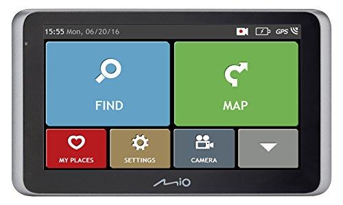 Mio Drive 55 LM Dashcam Videokamera für Auto mit Integrierter GPS-Funktion, 140 Grad Weitwinkelkamera, Lebenslangen Kartenupdates und Radar-Warnung, FAS Fahrerassistenzsysteme - Gesamt EU, schwarz