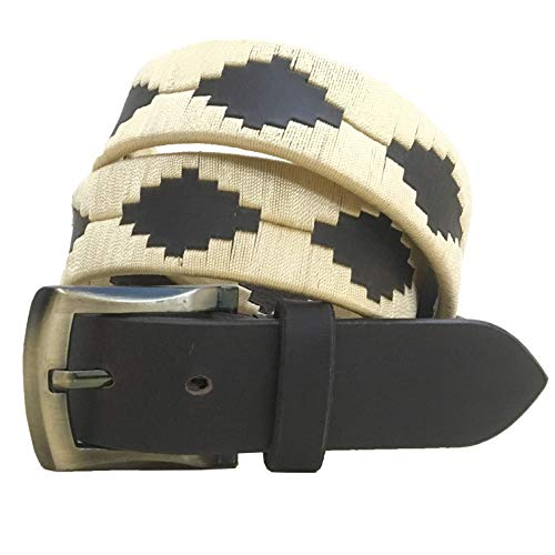 Carlos Diaz Cinturón de polo argentino de cuero marrón bordado para hombres y mujeres unisex (100 cm / 36 Inches)
