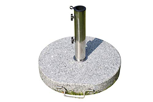 Garden Market Place Large Round Granite Parasol Umbrella Base Weight 30KGS - With Stainless Steel Tube, Handle and Wheels