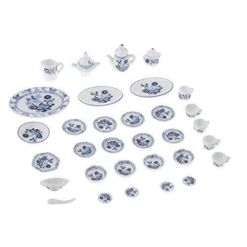 Toygogo 27 Unids 1/12 Artículos de Mesa de Cerámica en Miniatura con Estampado Floral Están Vívidamente Diseñadοs con Plato, Taza de Té, Olla - Azul