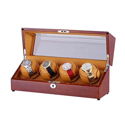 AYYEBO Cajas Giratorias para Relojes, Winders Box 4, Almohadas Suaves y Flexibles para Relojes, Epítopo Control Independiente, Motor Silencioso