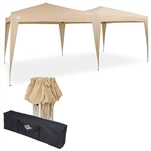 Deuba Pavillon Capri 3x6m Pop-Up Beige Wasserabweisend Inkl. Tasche UV-Schutz Faltpavillon Gartenzelt Partyzelt Zelt