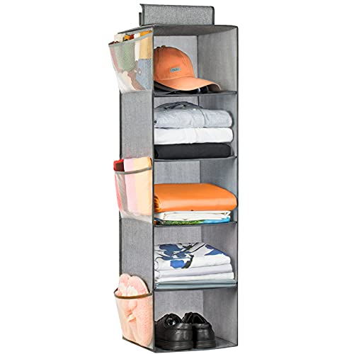 """Hanging Closet Organizer 5 Shelves, Cloth Hanging Organizer Foldable with 6 Side Pockets for Storage 39"""" H x 13"""" W x 13"""" D (Grey)"""