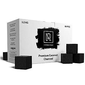 New! Hookah Coals Coconut Hookah Charcoal – 84 Count & 1.2 KG  2.6 lbs  – Value Pack Premium Quality 25mm  1x1x1 in  – 100% Natural Coconut Coals for Hookah Cubes – NOT Quick Light