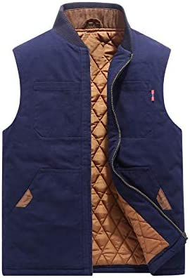 LYLY Vest Women Autumn Winter Men Vest Coat Warm Sleeveless Jacket Casual Men Vest Coat Fleece Army Green Waistcoat Big Size 6XL Vest Warm (Color : Blue Cotton, Size : XXL)