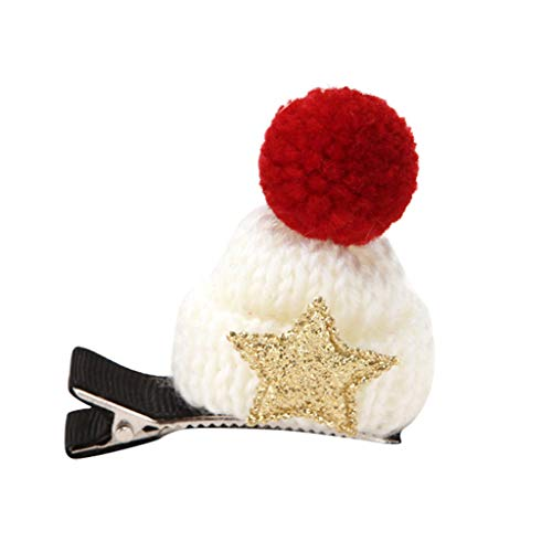 Sparkling Christmas Hat Hair Clips Baby Bow Clips for Baby Girls Toddlers Hair Clips Headdress Costume Accessory Headband Best Christmas Gif