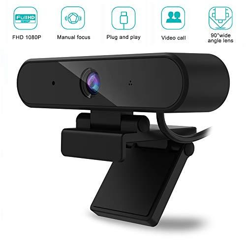 WebCam mit Mikrofon, USB 1080P Full HD Kamera mit drehbarem Halterung für Desktop,PC,Laptop, 90° Sichtfeld/Laufwerk-frei/Plug und Play, ideal für Videoanrufe, Studieren, Konferenzen, Live-Streaming