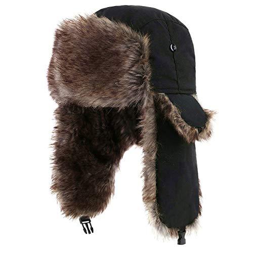 YESURPRISE Trapper Warme Russische Trooper Pelz Ohrenklappen Winter Skifahren Warme Mütze Kappe Damen Herren Unisex Winddicht Armee Schwarz