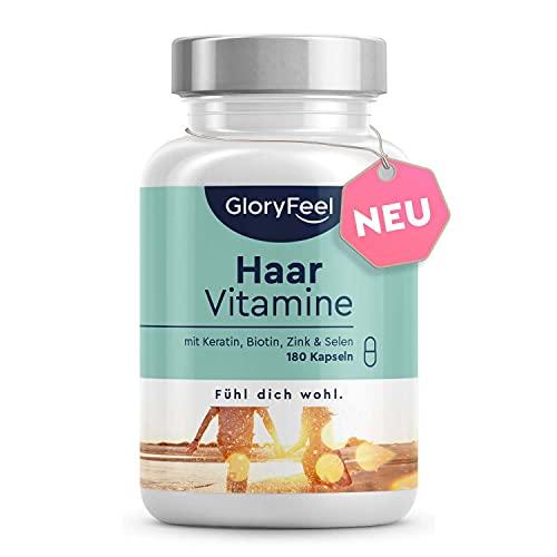 Haar Vitamine - Premium: 24 Vitalstoffe - 180 Kapseln - Bio-Aktiv: Alle 8 B-Vitamine - Keratin, Biotin, Selen, Zink & mehr - Laborgeprüft, hochdosiert, vegan ohne Zusätze in...