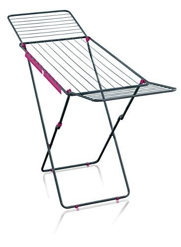 Leifheit Standtrockner Classic 200 Easy, 60years Color Edition pink, Wäscheständer mit 20m Trockenlänge für 2 Waschmaschinenladungen, mit Flügeln für lange Wäschestücke, platzsparender Wäschetrockner