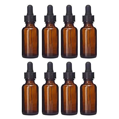 Lurrose Lot de 8 flacons compte-gouttes en verre ambré vides rechargeables pour huiles essentielles, parfum, cosmétique, liquide, aromathérapie, lotion, échantillon