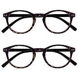 Opulize Zen Pack 2 Gafas De Lectura Oscuro Marrón Carey Pequeño Hombres Mujeres RR24-2 +2,00