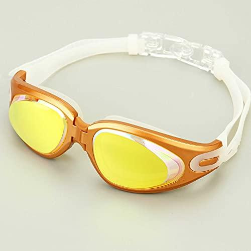N\C Gafas de natación, marco grande, silicona antiniebla, gafas de natación con tapones para los oídos, galvanizado, antiultravioleta, gafas de natación para adultos amarillo