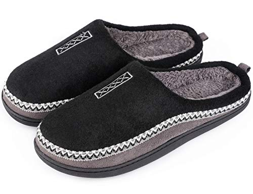 Men's Cozy Fuzzy Wool Fleece Memory Foam Slippers Slip On Clog House Shoes Indoor/Outdoor (7-8 M, Black)