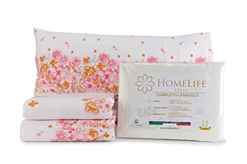 HomeLife Set Lenzuola Flanella Letto Singolo 100% Caldo Cotone Made in Italy | Completo Lenzuolo sopra 155x290CM + sotto a Angoli 90x200 + Federa con Patella 50x80 | Fantasia a Fiori [Rosa, 1P]