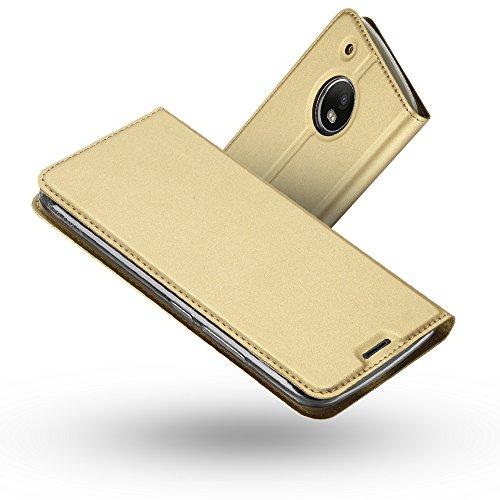 RADOO Moto G5 Lederhülle, Premium PU Leder Handyhülle Brieftasche-Stil Magnetisch Folio Flip Klapphülle Etui Brieftasche Hülle Schutzhülle Tasche Hülle Cover für Motorola Lenovo Moto G5 (Gold)
