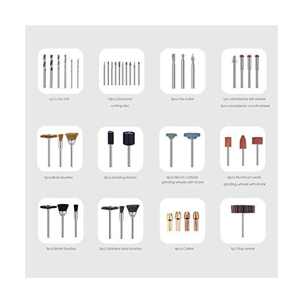 Tacklife – Set de 282 accesorios multiusos ARTO2C para herramientas rotativas universales de 3,2mm de diámetro para trabajos de corte, alisado, tallado, afilado y pulido