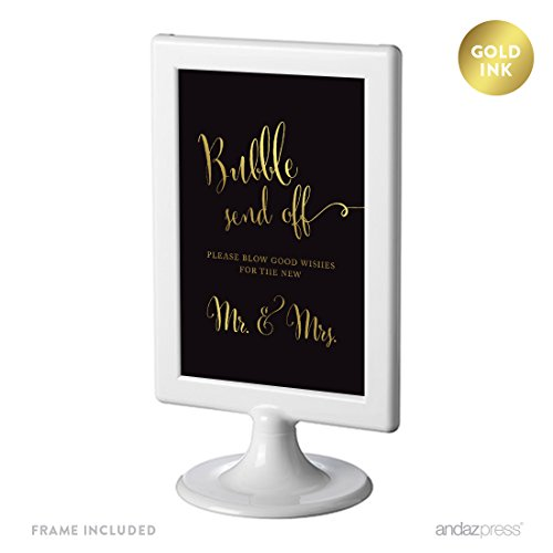 Andaz Press Wedding Framed Party Signs, Black and Metallic Gold Ink, 4x6-inch, Bubble Send Off Please Blow Good Wishes for The New Mr. & Mrs. Sign, Double-Sided, 1-Pack, Includes Frame