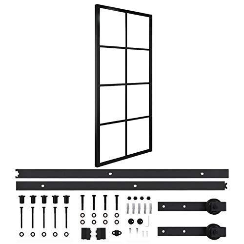 Qnotici Puerta corredera de Aluminio y Cristal ESG con herrajes. Protección contra Insectos. Paredes divisorias, Puertas Interiores 76x205 cm