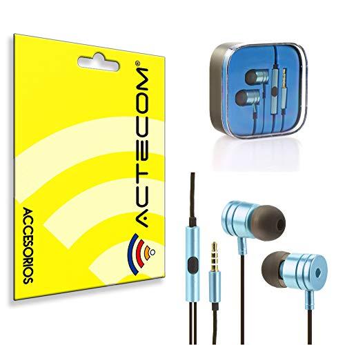 ACTECOM® Cascos Auriculares Manos Libres HF Metal Plata con Cable Nylon Android...
