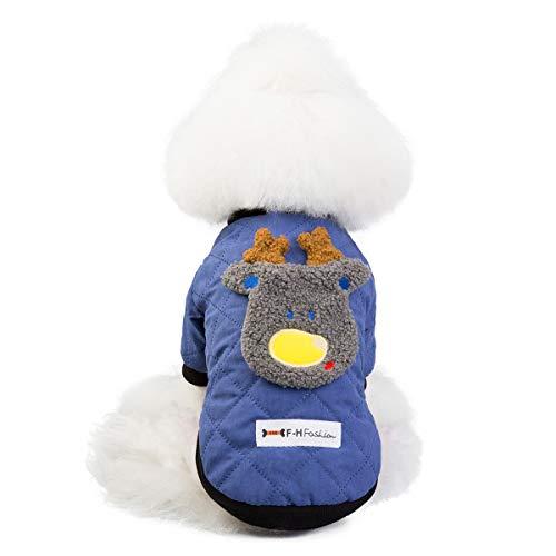 GBY Huisdier Kerstkleding, hond kleding winterjas, teddybeer Xiong bomei kleine hond huisdier mantel, tweepootige kleding herten jas, XX-Large, blauw