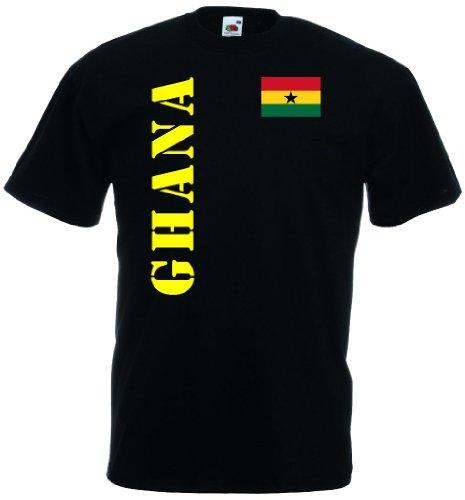 World-of-Shirt Herren T-Shirt Ghana Trikot Fan Shirt|schwarz XXXL