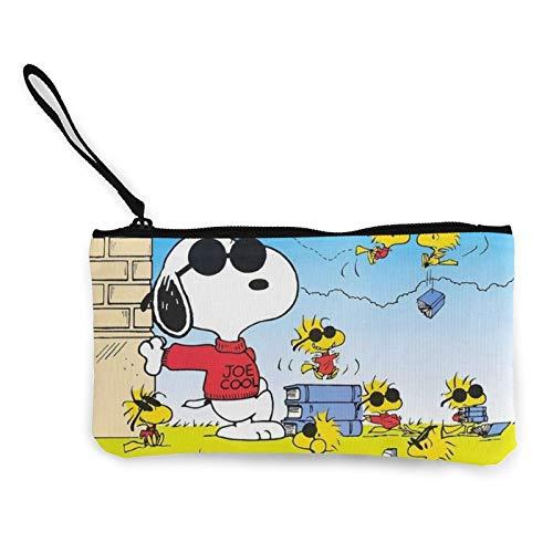 Cartoon Snoopy fuerte resistente al desgaste ligero y portátil multifuncional cremallera lona monedero cosmético bolsa tarjeta embrague para mujer