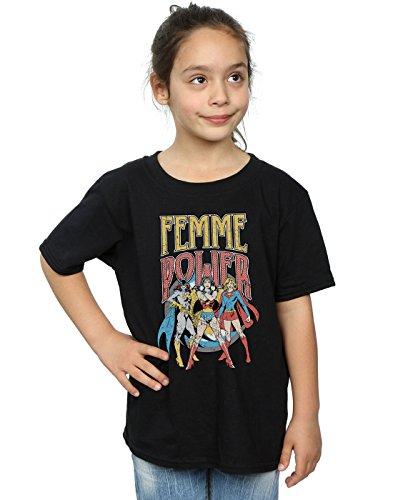 DC Comics niñas Wonder Woman Femme Power Camiseta 9-11 Years Negro