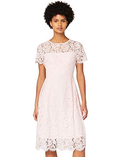 Amazon-Marke: TRUTH & FABLE Damen Midi A-Linien-Kleid aus Spitze, Rosa (Rosenwasser), 42, Label:XL