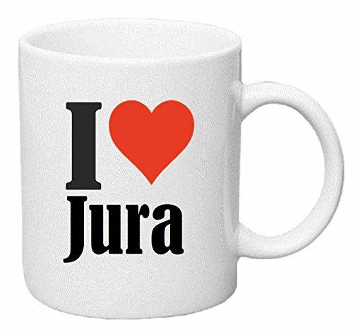 Reifen-Markt Kaffeetasse I Love Jura Keramik Höhe 9,5cm ? 8cm in Weiß