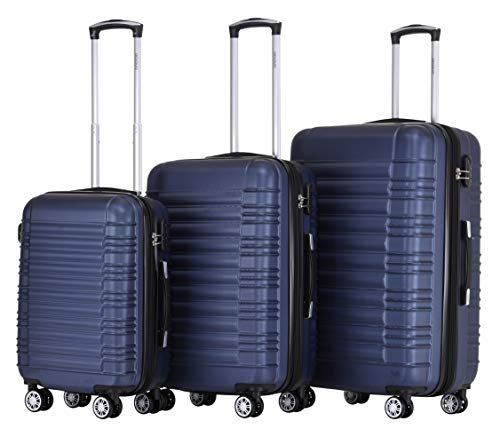 BEIBYE Zwillingsrollen Reisekoffer Koffer Trolleys Hartschale M-L-XL-Set (Dunkelblau, Set)