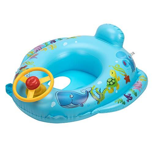 OKCS Gummiboot für Kinder Fischen Motiv Schlauchboot Pool Schwimmen Strandboot Junior Schwimmbad Badespaß - in Blau mit gelben Lenkrad und Hupe